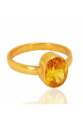 Classical Oval Shape Citrine November Birthstone Stacking Ring In Gold Plated