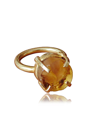 18kt Gold Plated Four Prong Set Raw Citrine Stacking Ring