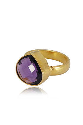 Pear Shape Natural Amethyst Gemstone Engagement Ring For Women
