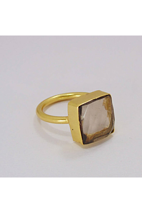 Bezel Set Brown Smoky Quartz Gemstone Gold Plated Anniversary Gift Ring