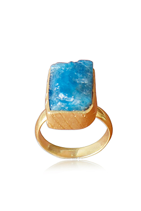 18kt Yellow Gold Plated Exquisite Raw Apatite Finger Stackable Ring