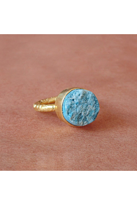 18kt Gold Plated Turquoise December Birthstone Stacking Ring
