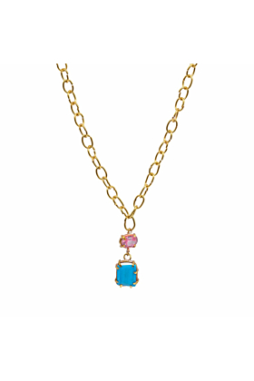 Alvina Pink Zircon & Blue Turquoise Necklace