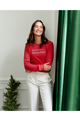 Happiness is...The Holidays Sweatshirt in Chili