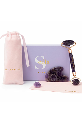 The Ultimate Amethyst Roller & Gua Sha Beauty Set for Anti-Ageing Facial Massage