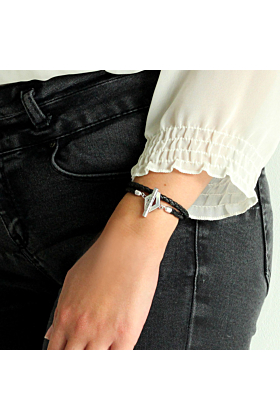 Double Black Leather and Oxidised Sterling Silver Aurora Bracelet
