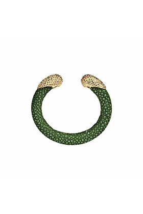 Calypso Sapin Green Stingray Leather Bangle