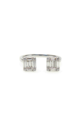 14kt Gold Double Diamond Rectangle Ring