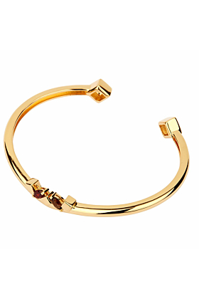 14kt Yellow Gold Plated Sterling Silver Garnet Daring Bracelet