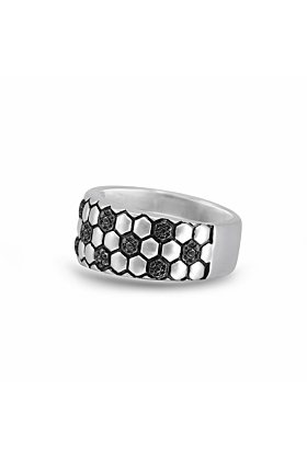 Sterling Silver & Black Diamond Kick Goal Soccer Band Ring