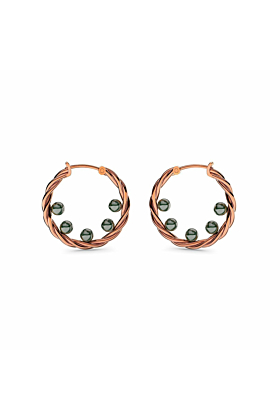 Rose Gold Twisted Pearl Earrings