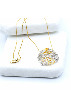 14kt Yellow Gold Honeycomb Diamond Necklace