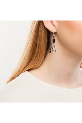 Black Diamond White Gold Black Tassel Drop Earrings