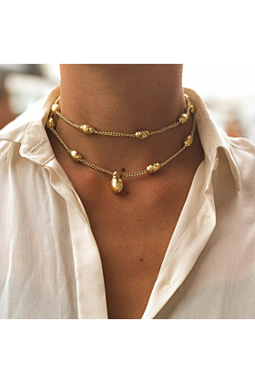 Yellow Gold Plated Una Necklace