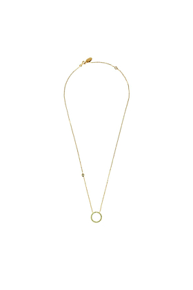 Yellow Gold Plated Sparkling Halo Circle Necklace