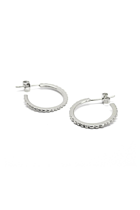Sterling Silver Facet Shine Hoops