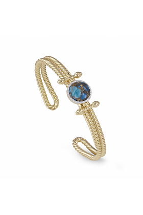 Yellow Gold Plated Silver Turquoise & Diamond Golden Rays Cuff