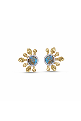 Sterling Silver Turquoise & Diamond Sun-Day Stud Earrings