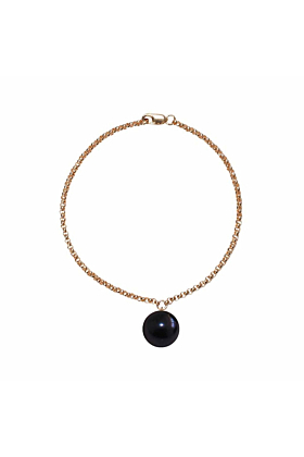 14kt Yellow Gold Plated & Black Freshwater Pearl Alba Bracelet