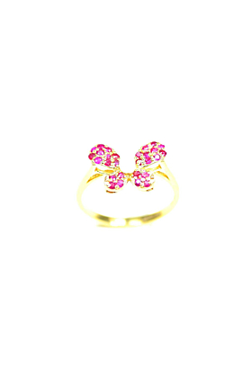14kt Yellow Gold Butterfly Ring With Ruby & Pearl