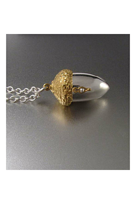 Sterling Silver & 18kt Gold Vermeil Acorn Locket Necklace