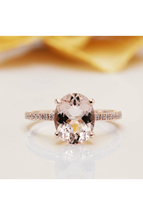 14kt Gold Two-Sided Natural Morganite Diamond Engagement Ring
