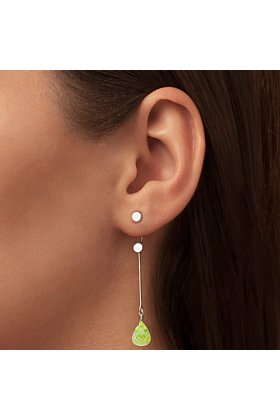 Brilliant Brio Earrings With Peridot - Long Drop