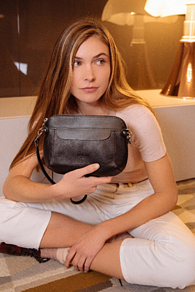 Oceane Vegetable Tanned Black Leather Bag