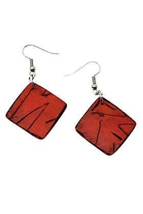 Kere Carved Striking Red Squares Polymer Earrings