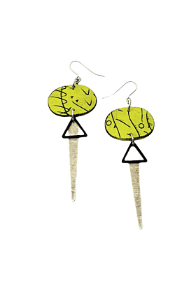 Odalys Strikes Polymer Earrings In Green, Black & Silver