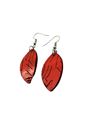 Red Autumnal Leaf Polymer Dangle Earrings
