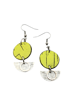 Inise Sail Ocean Green Hues & Silver Polymer Earrings