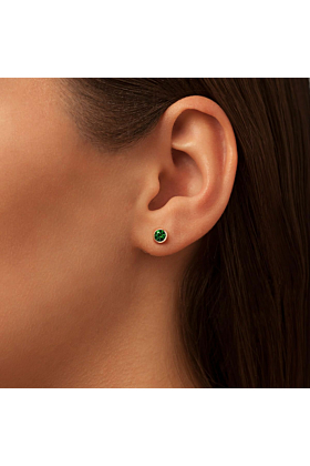 Sparkly Solo Studs With Green Topaz