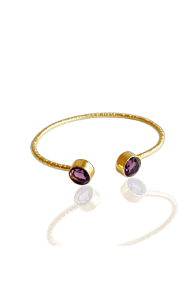 18kt Gold Plated Faceted Amethyst Stackable Bangle