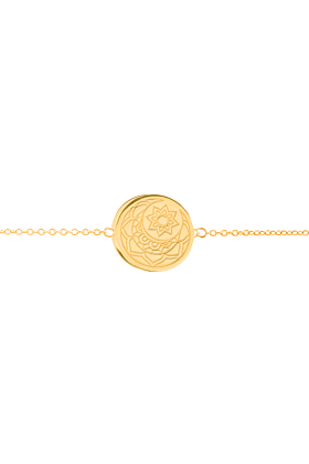 Yellow Gold Plated Moon and Sun Disc Bracelet