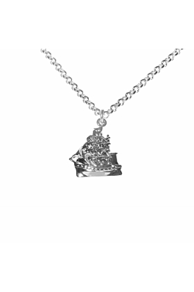 Silver Clipper ship Necklace