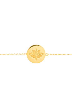 Yellow Gold Plated Lotus Disc Bracelet