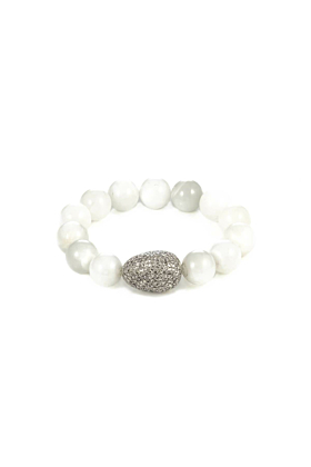 Diamond Egg  Moonstone Beaded Bracelet