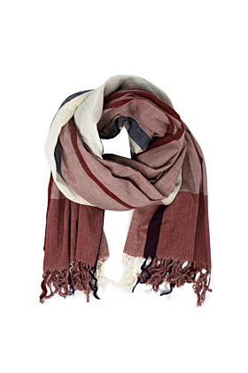 Organic Cotton Red and Beige Muslin Scarf
