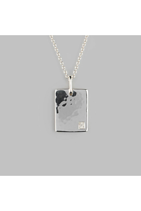 Sterling Silver Tablet Hammered Necklace | No 01