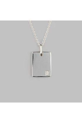 Sterling Silver Tablet Polished Necklace|No.01