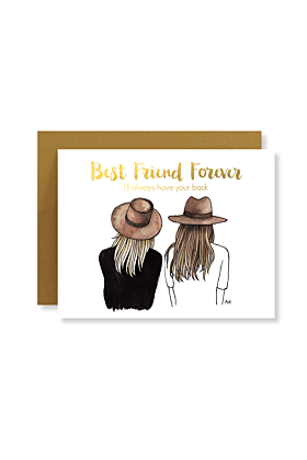 Best Friend Forever with Gold Foil Blonde/Brown Hair Card