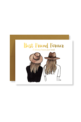 Best Friend Forever with Gold Foil Brown/Brown Hair Card