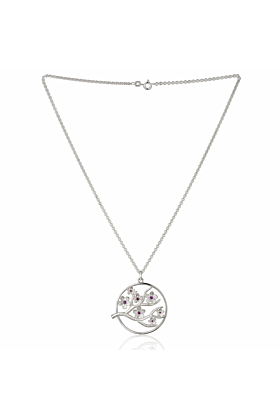 Large Silver Cherry Blossom Pendant with Garnets