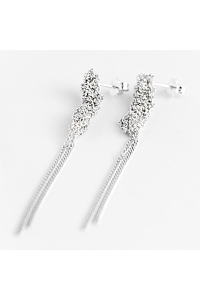 Silver Crocheted Chandelier Stud Earrings