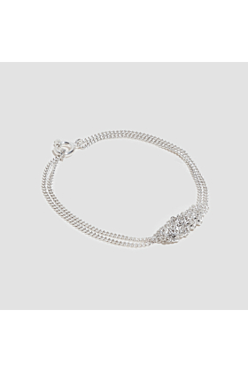 Silver Crocheted Curb Chain Bracelet