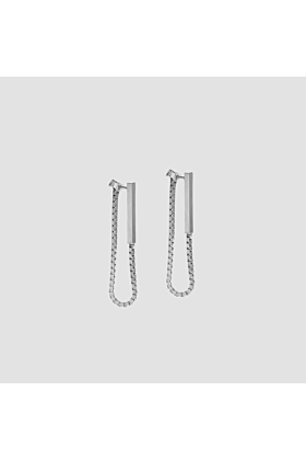 Rhodium Plated Silver Single Line Stud Earrings