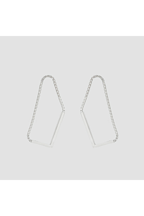 Rhodium Plated Sterling Silver Geometric Shaped Stud Earrings