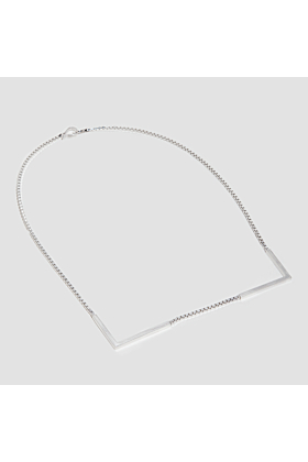 Rhodium Plated Sterling Silver Geometric Square Necklace