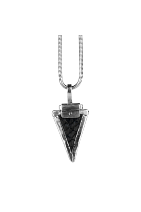 Sterling Silver & Nordic Salmon Leather Black Arrow Pendant | Nord Collection